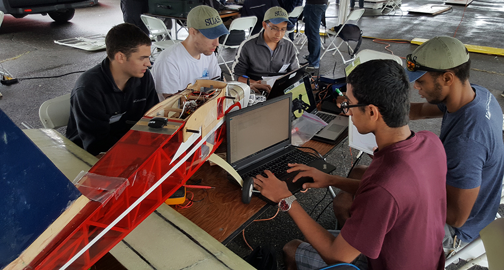UAV students working on aircraft