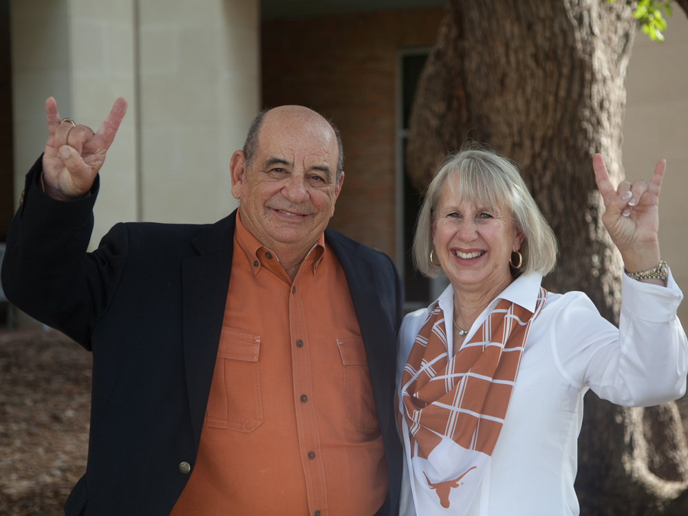photo of alumnus thomas mcknight and mimi mcknight in front of ase building