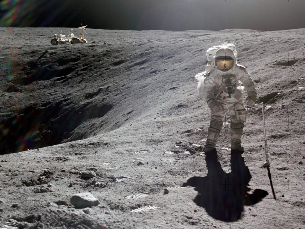 image of astronaut on moon with rover